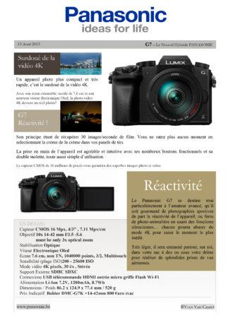 communiqué de presse panasonic G7