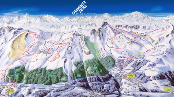 carte domaine skiable zinal